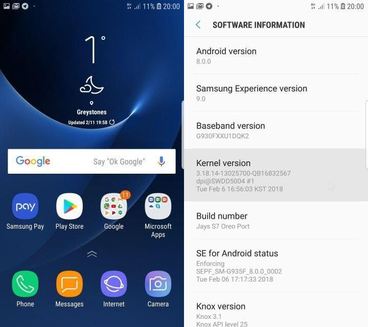 capturas de la interfaz de Samsung con oreo