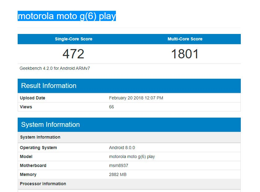 Geekbench Motorola Moto G6 Play