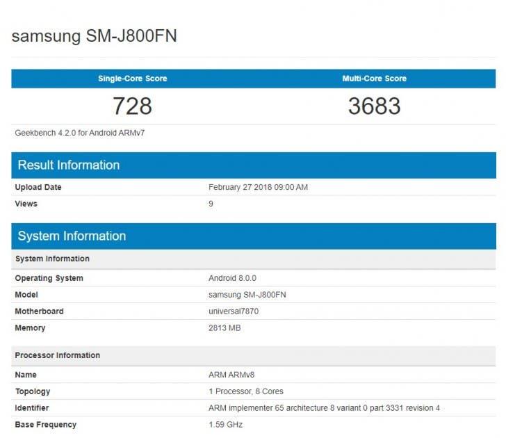especificaciones del Samsung Galaxy J8