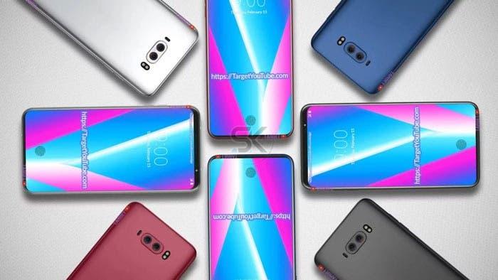 render del LG V40 con diferentes colores