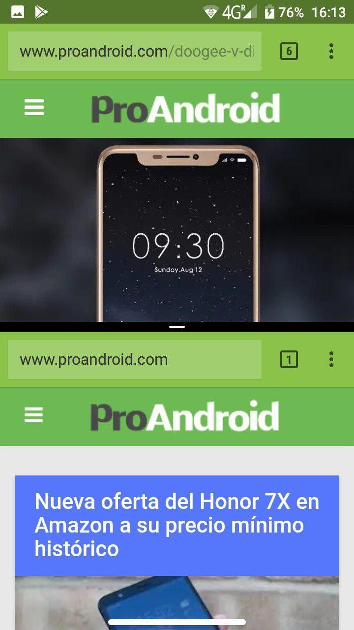 pestañas de Google Chrome a pantalla partida
