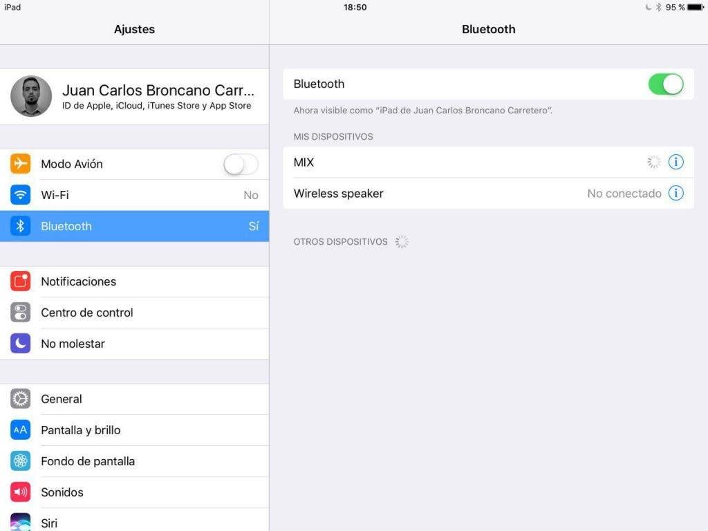 Menú Bluetooth de iOS en Ajustes