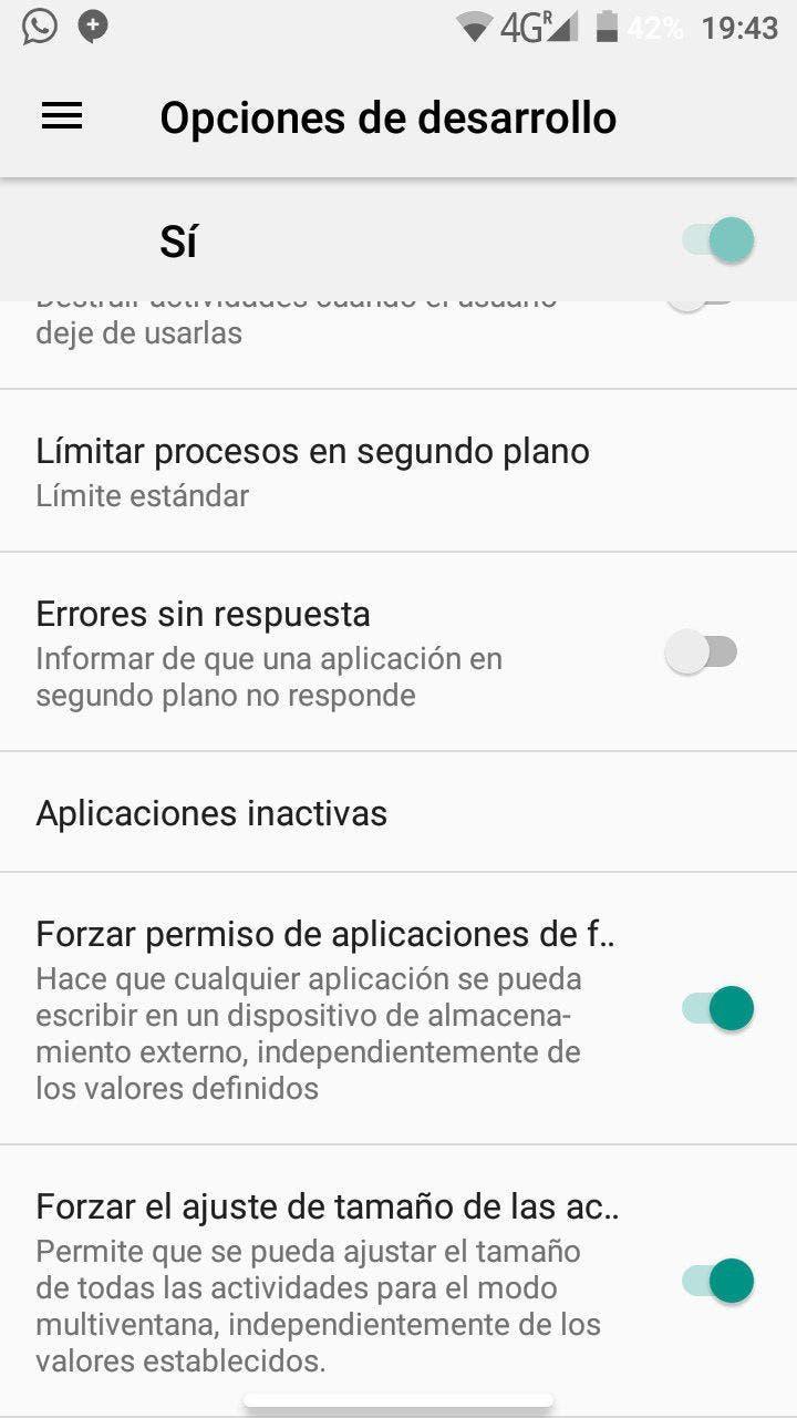 opciones de desarrollo de android