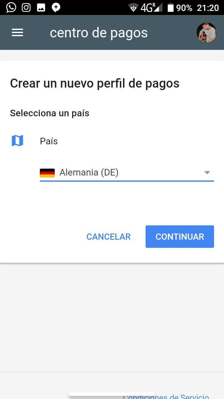 perfil de pago de google
