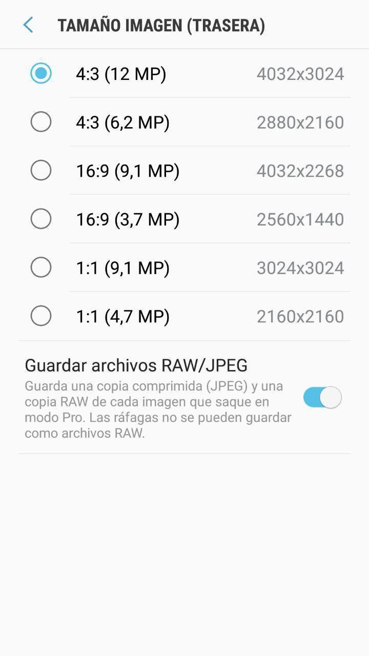 activar el modo RAW en los Samsung Galaxy