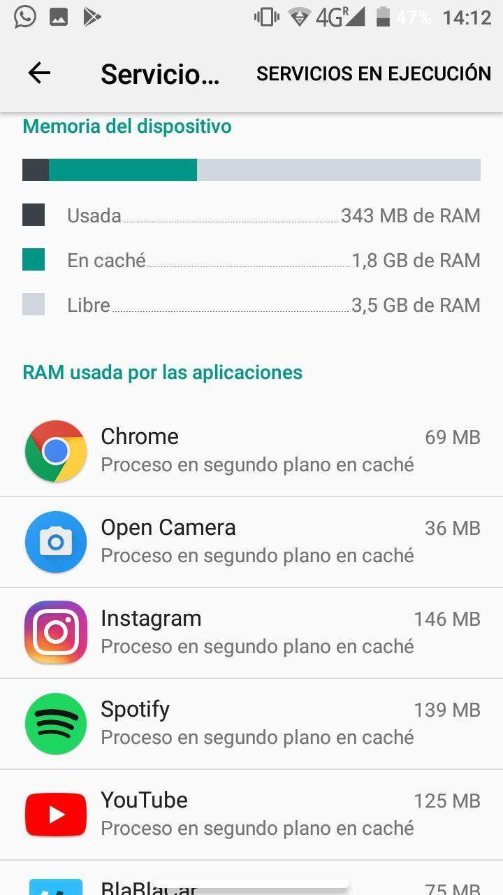 ver los procesos en segundo plano en Android