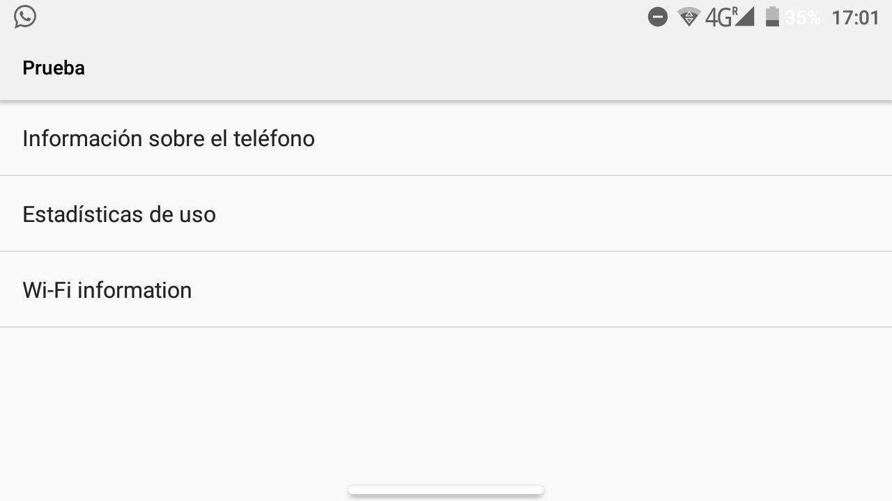 menu de prueba de android