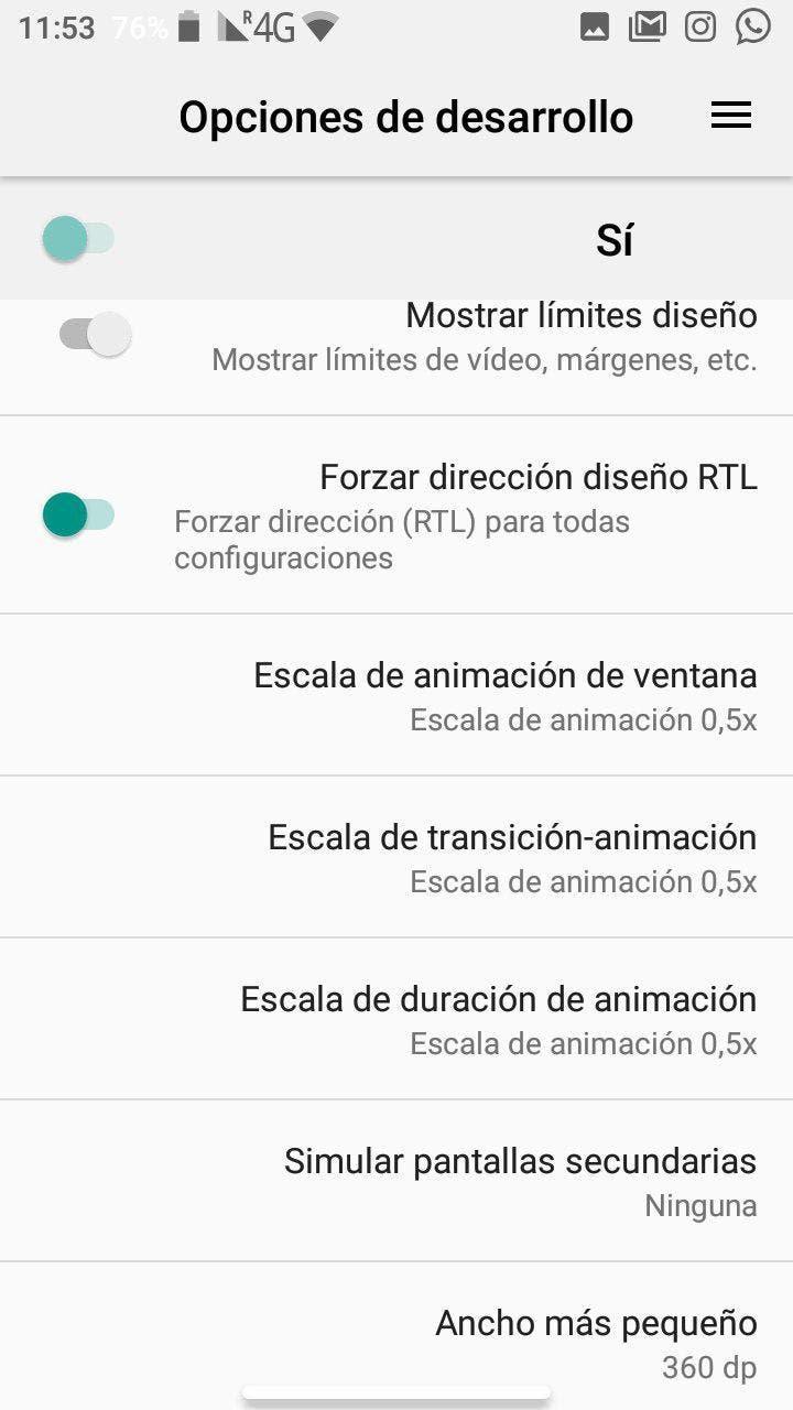 modo para zurdos de Android