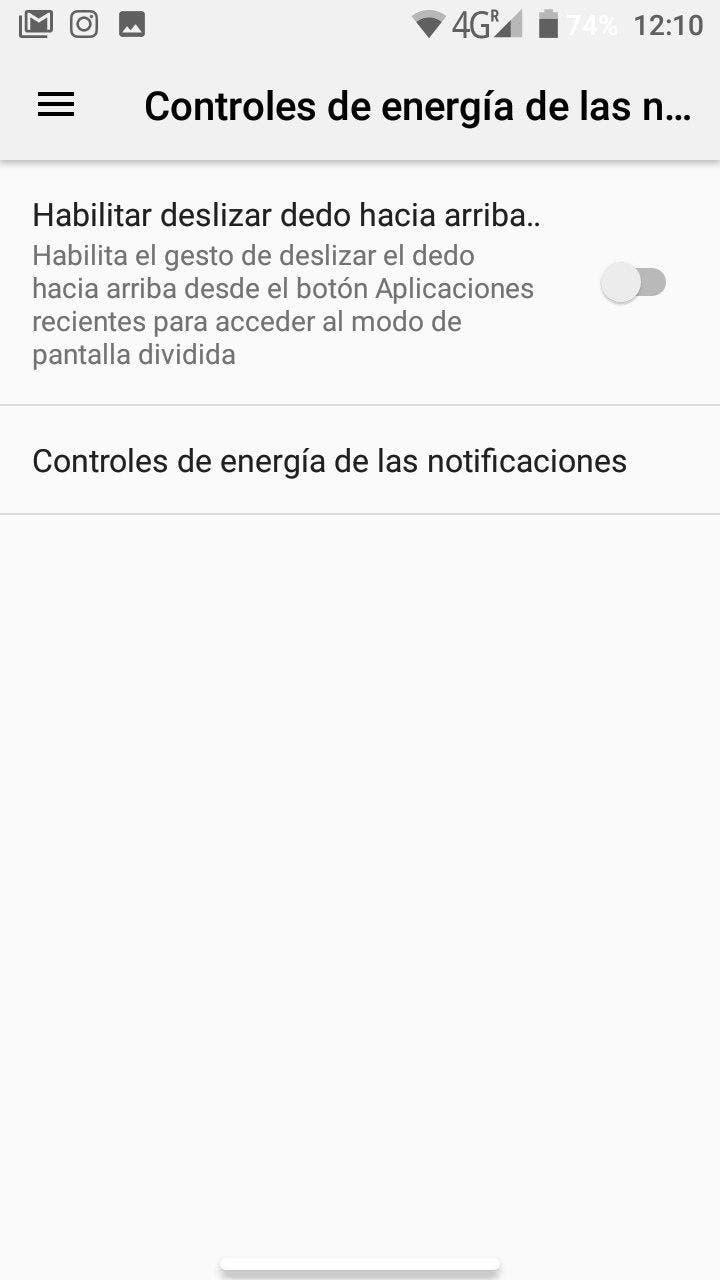 control de energia de las notificaciones