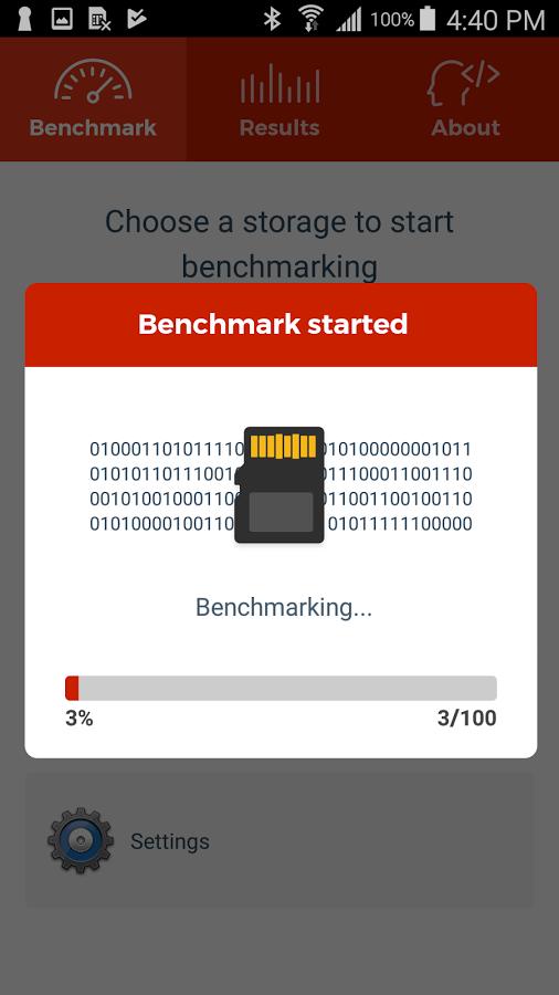 test de velocidad de la tarjeta sd en android