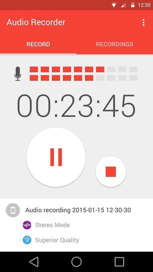 aplicación de grabación de voz en android
