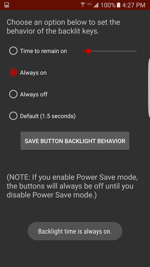apagar la iluminación de los botones de los Samsung Galaxy