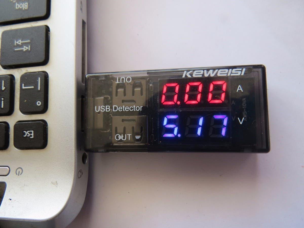 amperímetro usb conectado