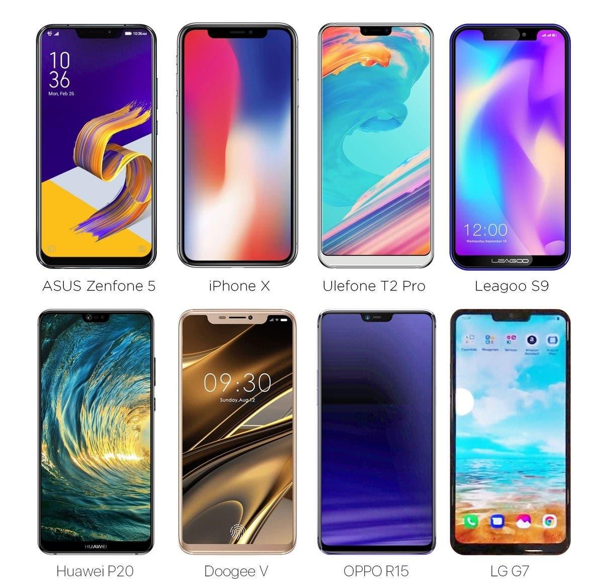 smartphones Android que copian el diseño del iPhone X
