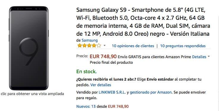 oferta del samsung galaxy s9 en amazon