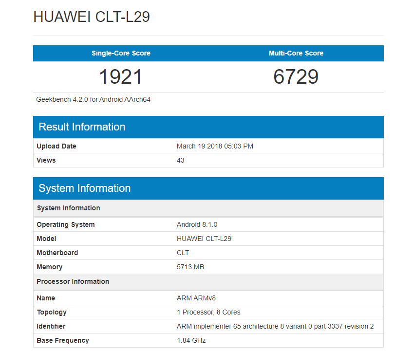 benchmark del Huawei p20 pro