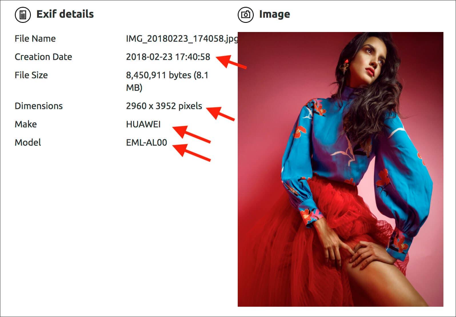 Datos EXIF de la foto del Huawei P20