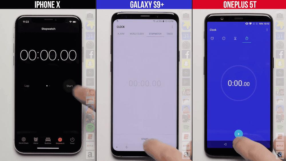 iPhone X vs Samsung Galaxy S9 vs OnePlus 5T: ¿qué móvil es más rápido abriendo aplicaciones?