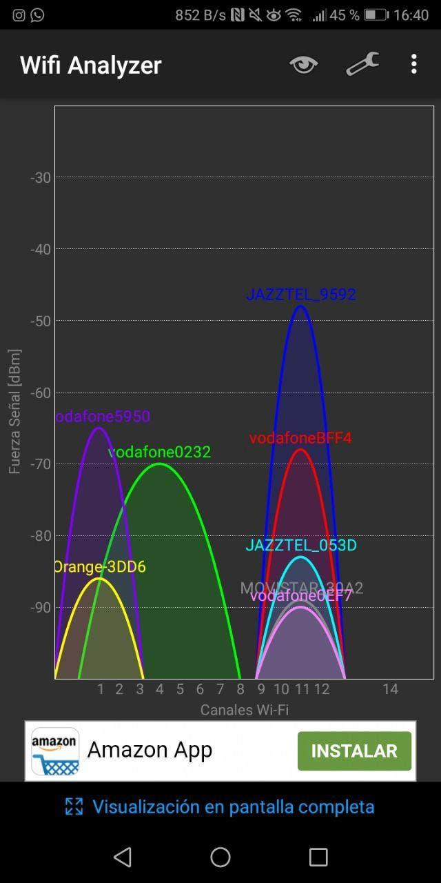 captura de wifi analyzer