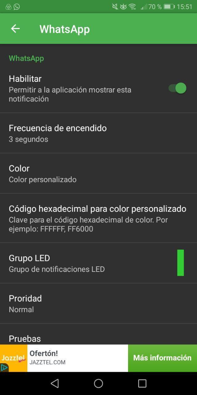 cambiar el color del LED de WhatsApp