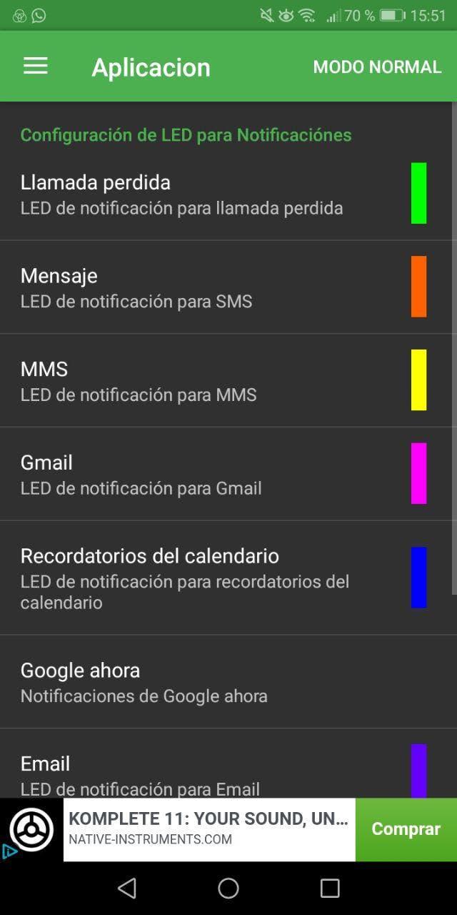 cambiar el color del LED de android