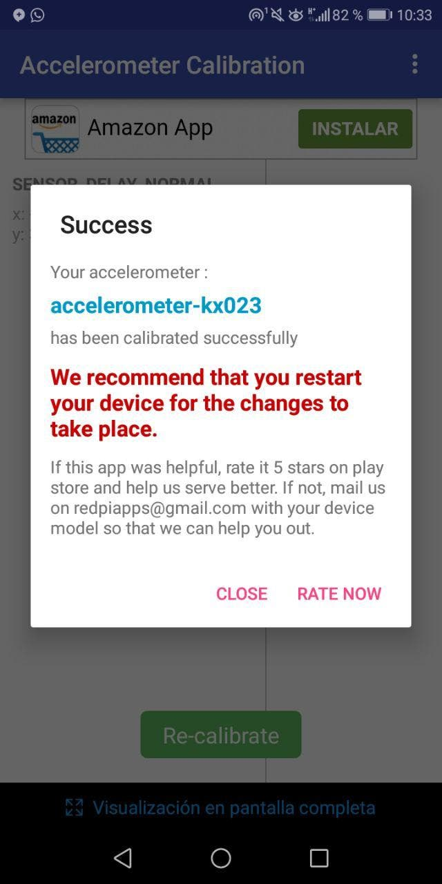 calibrar el acelerómetro en Android