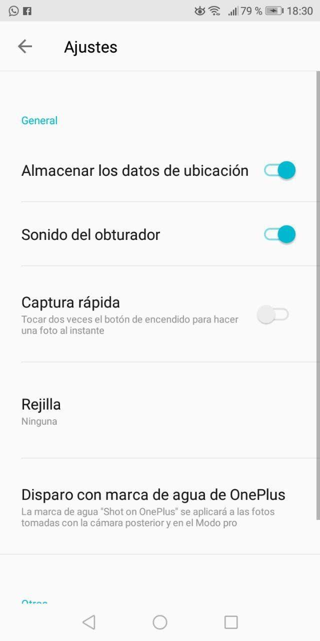 aplicación de cámara del OnePlus 5T