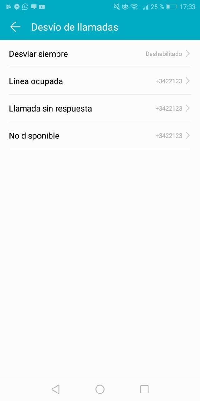 desvio de llamadas de Android