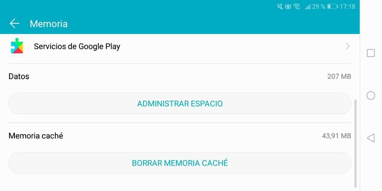 borrar cache del google play