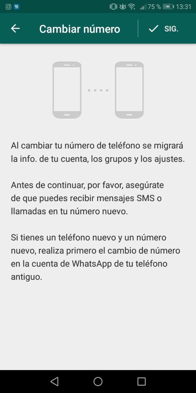 cambiar el número de whatsapp