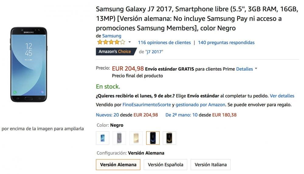 oferta del Samsung Galaxy J7 en Amazon