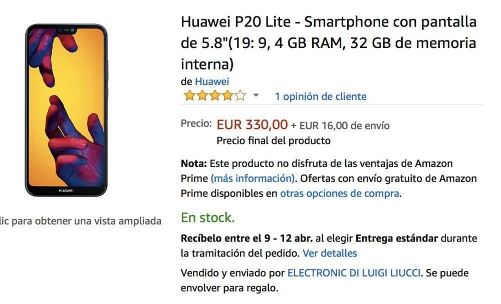 oferta del huawei p20 lite en amazon