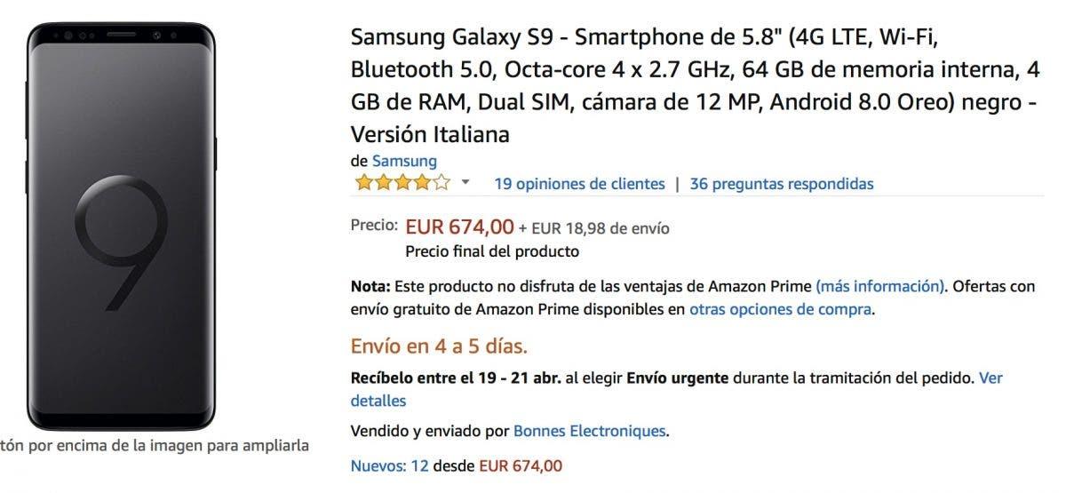 oferta del Samsung Galaxy S9 más barato en amazon