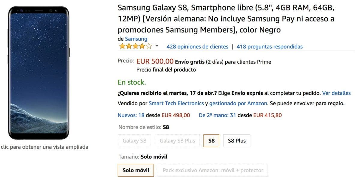 Samsung Galaxy S8 más barato en amazon