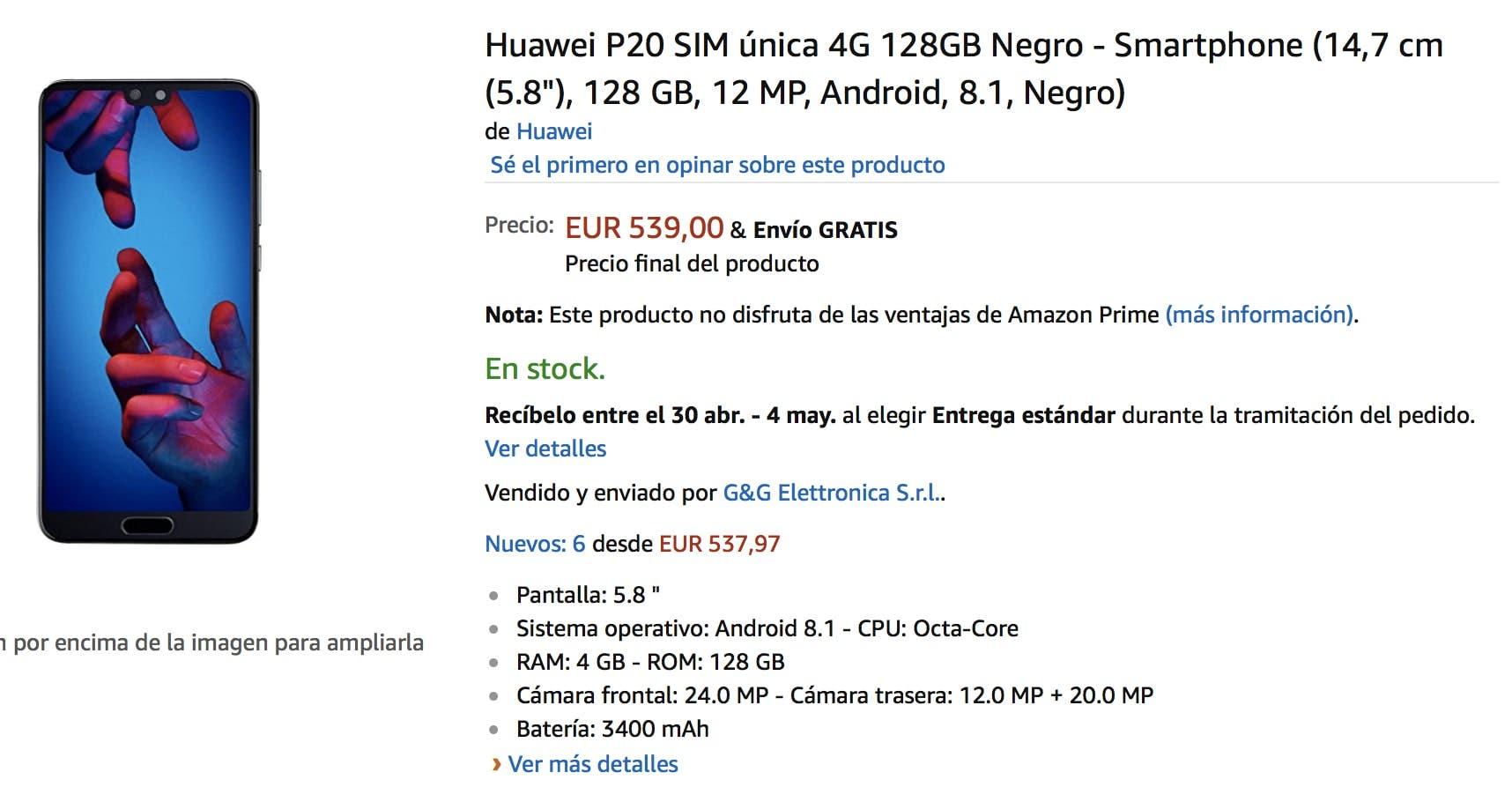 oferta del huawei p20 en amazon