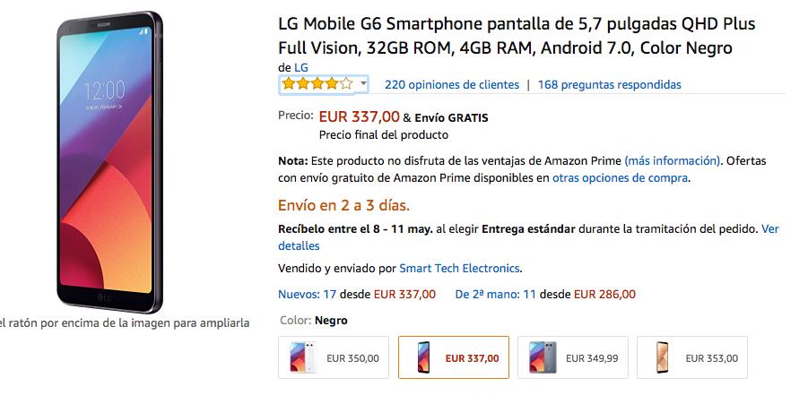 oferta del lg g6 en amazon