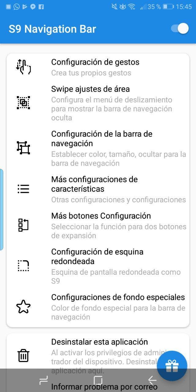 barra de navegación del Samsung Galaxy S9