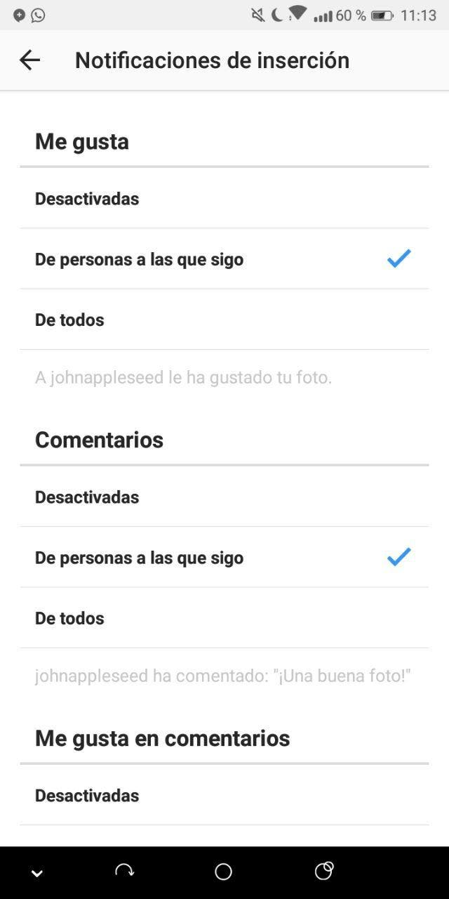 notificaciones de Instagram
