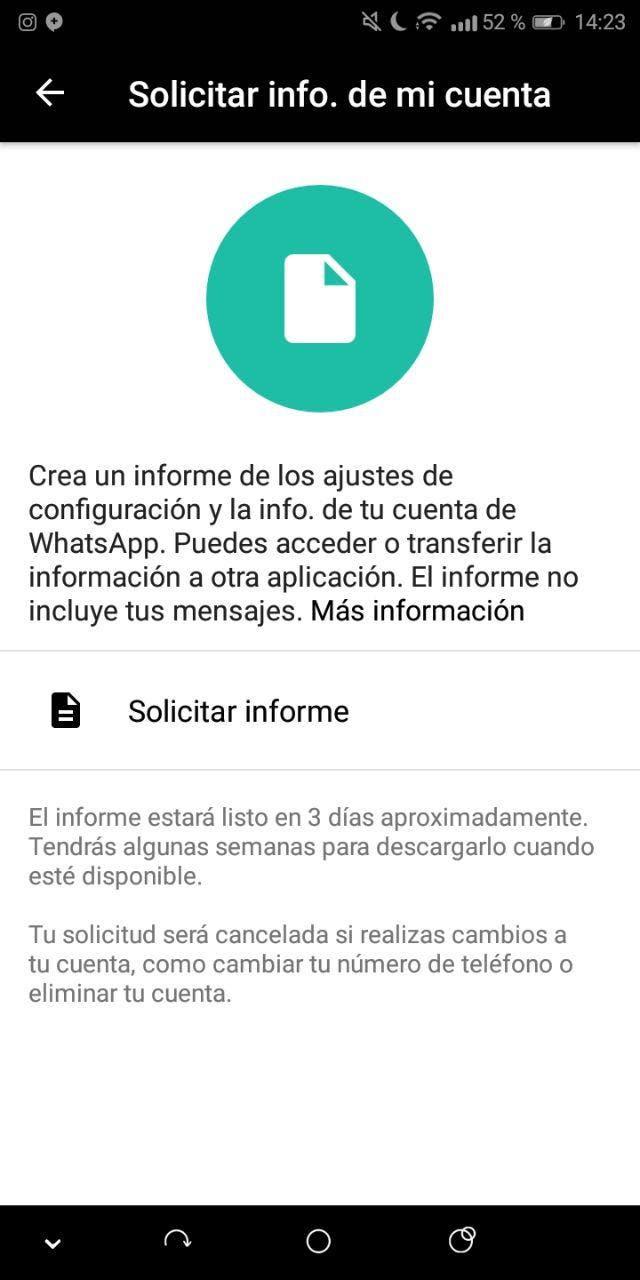 solicitar informe de whatsapp