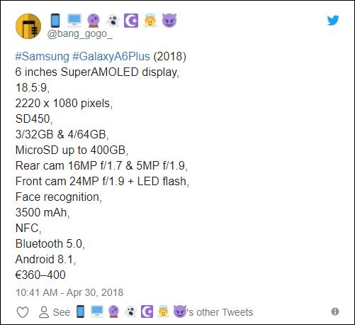 precio del Samsung galaxy a6+
