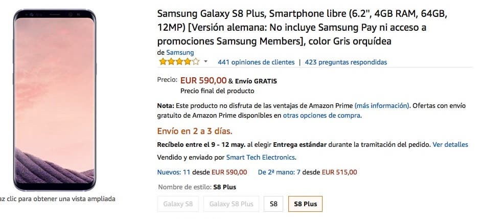 oferta de galaxy s8 plus en amazon