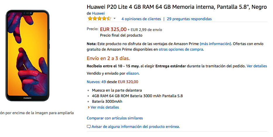 oferta del huawei p20 lite