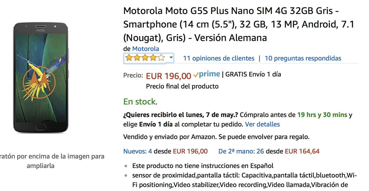 oferta del moto g5s plus en amazon