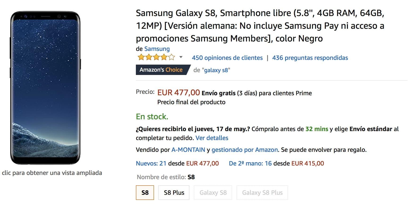 oferta del galaxy s8 en amazon
