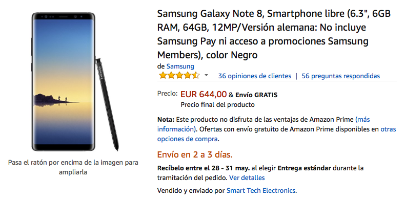oferta del galaxy note 8 en amazon