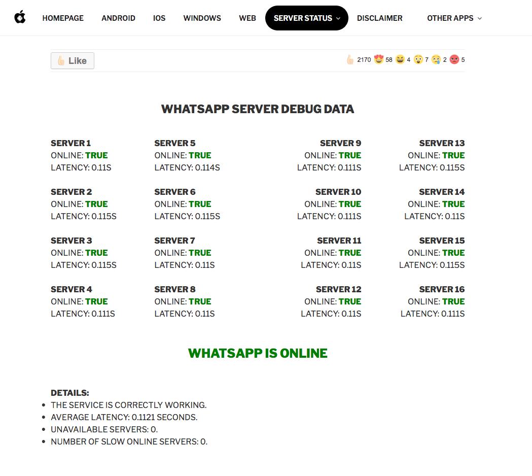 whatsapp está caido