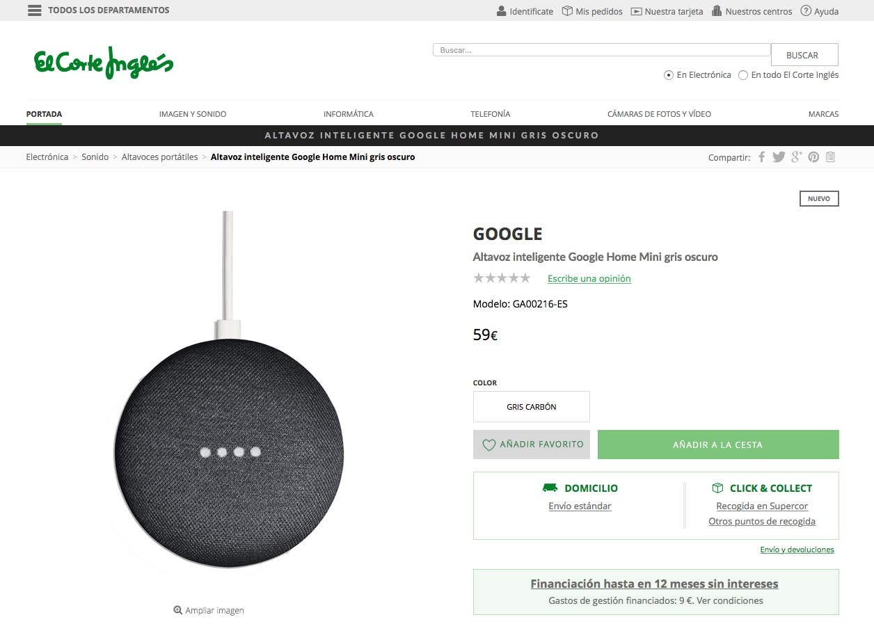 comprar el google home mini