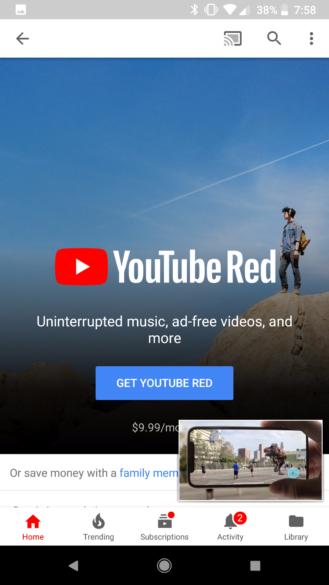 aplicación de youtube para Android