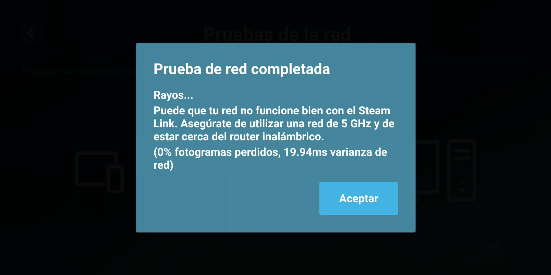 Prueba de red Steam Link