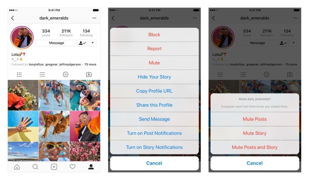 silenciar los contactos en Instagram